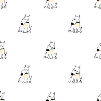 흰색 바탕에 만화 스타일의 귀여운 불 테리어 강아지와 벡터 패턴