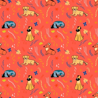 Vector pattern with cute different breeds of dogs in cartoon style on a red background
