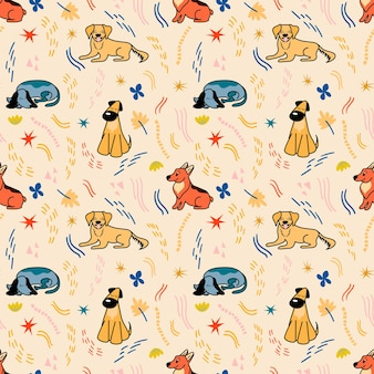 베이지색 배경에 만화 스타일의 귀여운 다른 품종의 강아지가 있는 벡터 패턴