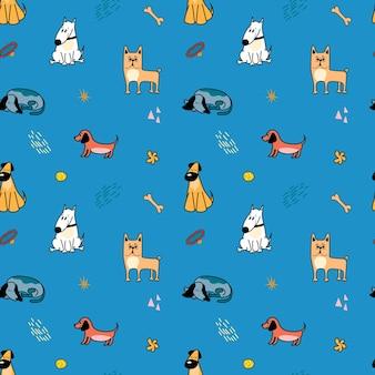 파란색 배경에 만화 스타일의 귀여운 다른 품종의 강아지가 있는 벡터 패턴