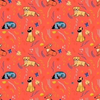 빨간색 배경에 만화 스타일의 귀여운 다른 품종의 강아지가 있는 벡터 패턴