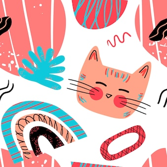 スカンジナビアスタイルのさまざまなかわいい猫とグラフィック要素のベクトルパターン