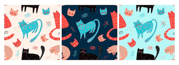 Vector pattern with different cute cats and graphic elements in the scandinavian style