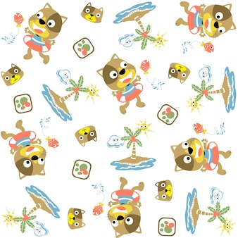 Vector pattern with funny cats in the beach