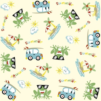 Vector pattern with funny frog cartoon holiday in the beach