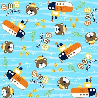 面白い潜水艦キャプテン漫画とベクトルパターン