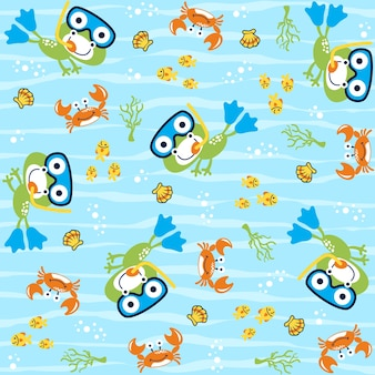 Vector pattern with funny underwater life