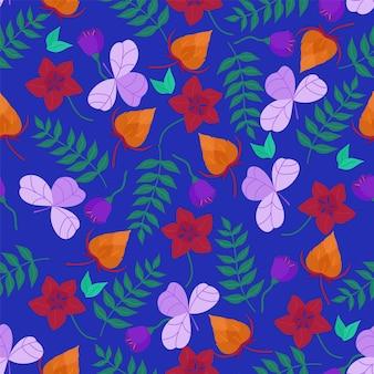 Векторный образец с рисованной цветами и листьями на синем фоне. бесшовный узор вектор