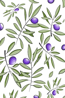 Vector pattern with ink hand drawn olive tree twigs isolated on white