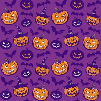 紫色のスタイルのカボチャとコウモリのベクトルパターン