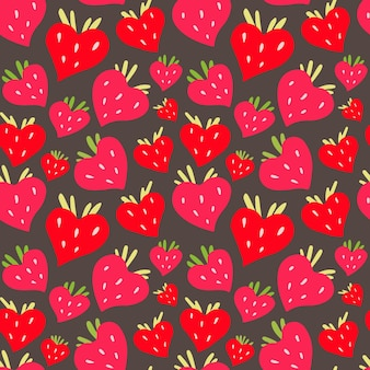 赤いイチゴの果実と緑の葉のベクトルパターン。生地に印刷するためのベリー。
