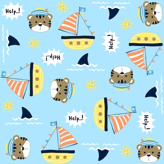 Vector pattern with set of sailing