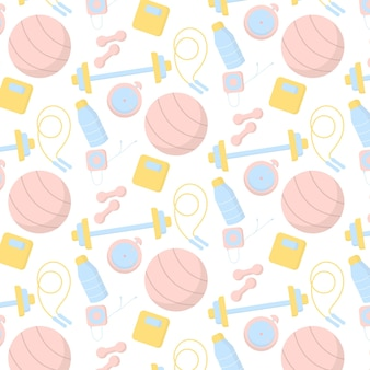 Vector pattern with sports equipment