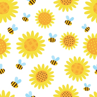 Vector pattern with sunflowers and flying cartoon bees