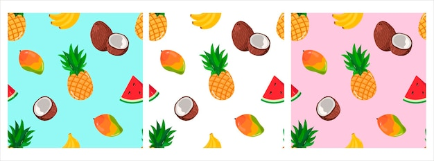 Vector pattern with tropical fruits bananapineapples mango watermelon pattern for tshirts