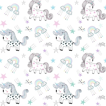 Vector pattern with unicorns and stars cute seamless unicorn pattern for kidsbaby background