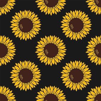 흰색 바탕에 표범 무늬가 있는 노란색에 노란색 해바라기가 있는 벡터 패턴입니다.