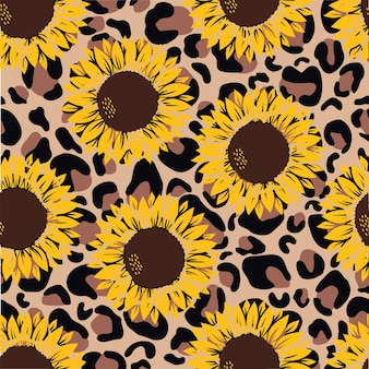 Vector pattern with yellow sunflowers on a yellow with leopard print on white background.