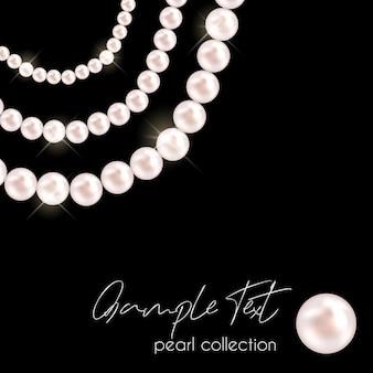 黒の背景にベクトル真珠ネックレス真珠のチェーンポスター美しいジュエリー