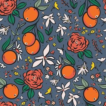 벡터 펜 그리기 개요 오렌지와 야생 꽃 그림 모티브 원활한 반복 패턴