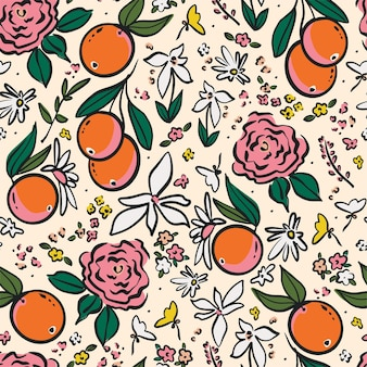 Vector pen drawing outline orange and wild flowers illustration motif seamless repeat pattern d