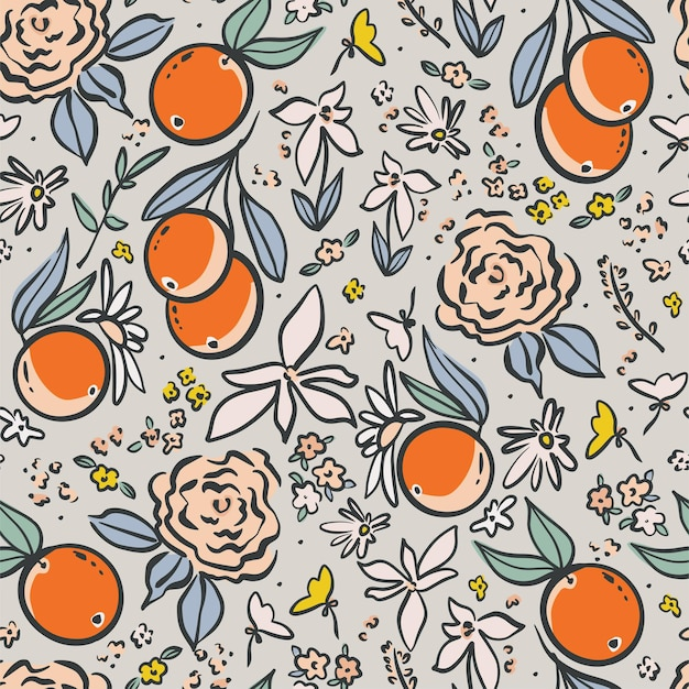 Vector pen drawing outline orange and wild flowers illustration motif seamless repeat pattern