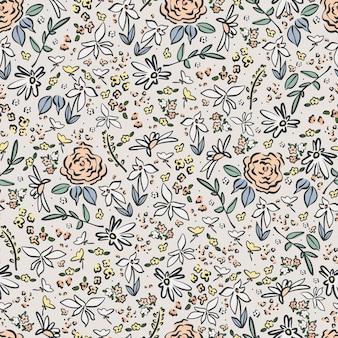 小さなレトロな花のイラストモチーフのシームレスな繰り返しパターンを描くベクトルペン