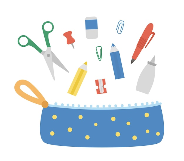 Vector pencil case with stationery. back to school educational clipart