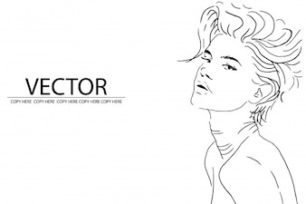 Vector pencil sketch design model face shot