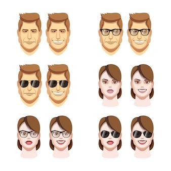 Vector people faces. woman, man flat cartoon avatars