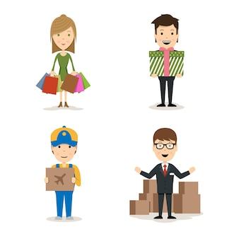 Vector persone che acquistano personaggi con una donna con borse, un uomo che tiene un regalo, un fattorino con un pacco di merci aviotrasportate e un venditore che fa una promozione dei prodotti