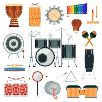 Вектор ударных музыкальных инструментов в плоском стиле.