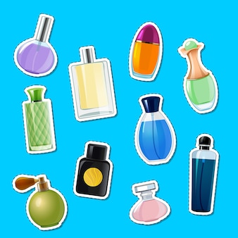 Vector perfume bottles stickers of set illustration