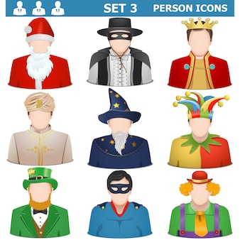 Vector person icons set 3 isolated on white background