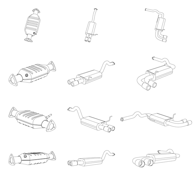 자동차 배기 파이프 및 촉매 변환기 시스템의 벡터 원근 윤곽 그림 - 라인 아트 프리미엄 벡터