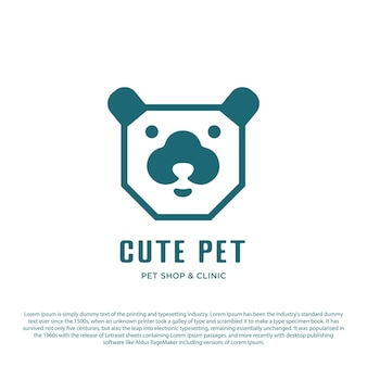Vector pet logo simple design dog head minimalist vector with outline style