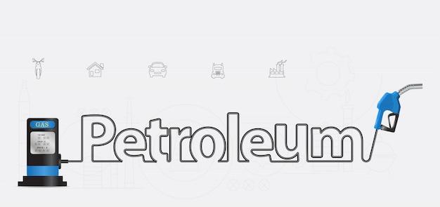 Vector petroleum typographic pump nozzle creative design