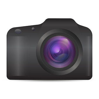 Vector photo camera realistic 3d analog camera icon in front view isolated on white background
