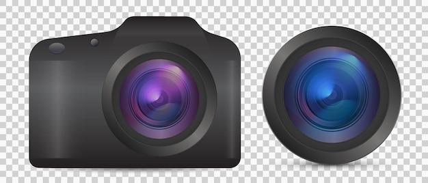 正面図のレンズ付きのリアルな3dアナログカメラアイコンのベクトル写真カメラ