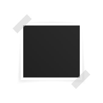 Vector photo frame mockup design. photo frame on sticky tape isolated on white background. vector illustration