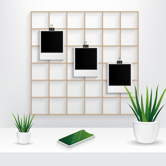 Vector of photo frame with wall grid panel, interior plant and mobile phone