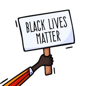 ベクトルピケットプラカードサインブラックライブマター抗議。活動家の抗議手バナーサイン
