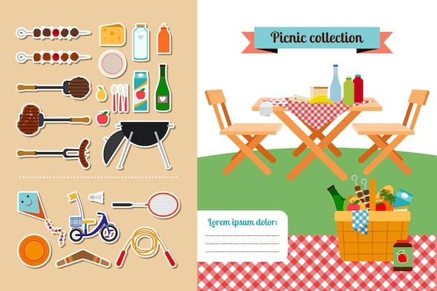 ベクトルピクニック要素コレクション。肉と食べ物、ホットステーキ、バーベキュー、グリル