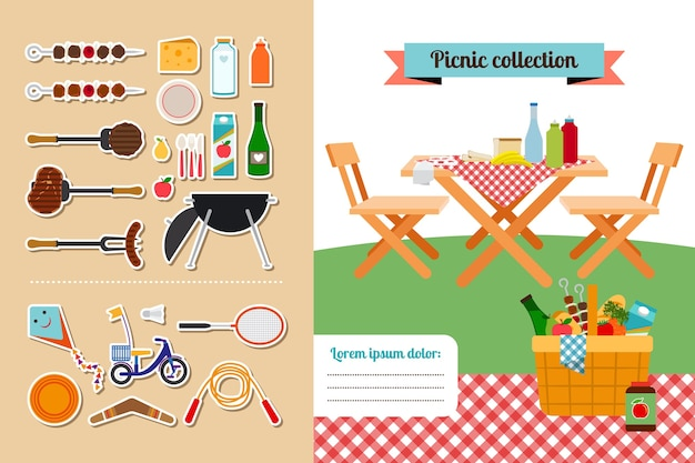Vector picnic elements collection. meat and food, hot steak, barbeque and grill