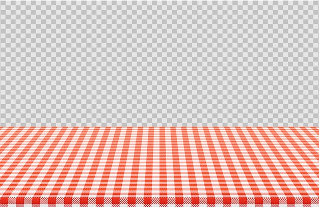 Vector picnic table with red checkered pattern of linen tablecloth isolated on transparent