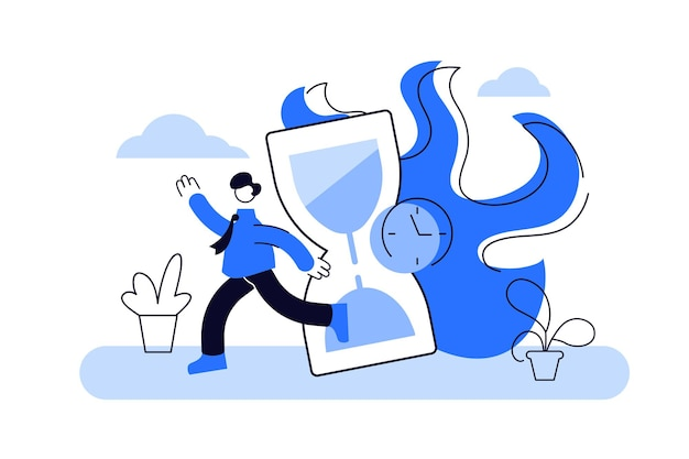 Vector picture of blue running businessman