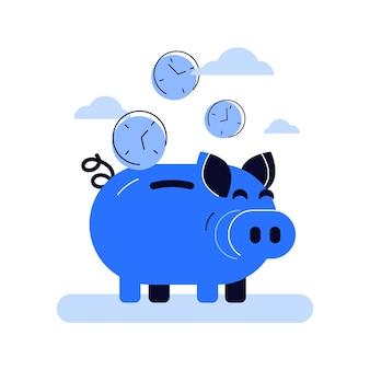 재미있는 블루 돼지 저금통의 벡터 그림