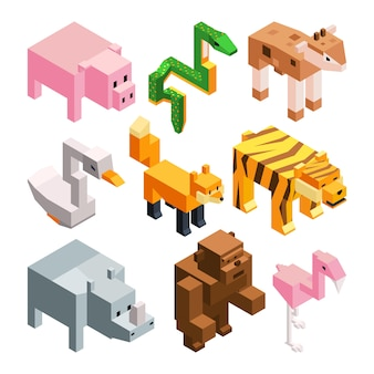 Vector pictures set of funny stylized animals.