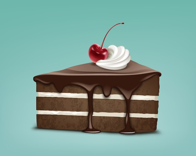 Vector piece of chocolate puff cake with icing, whipped cream and maraschino cherry isolated on blue background