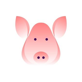 Вектор свинья в стиле градиента. цифровое искусство